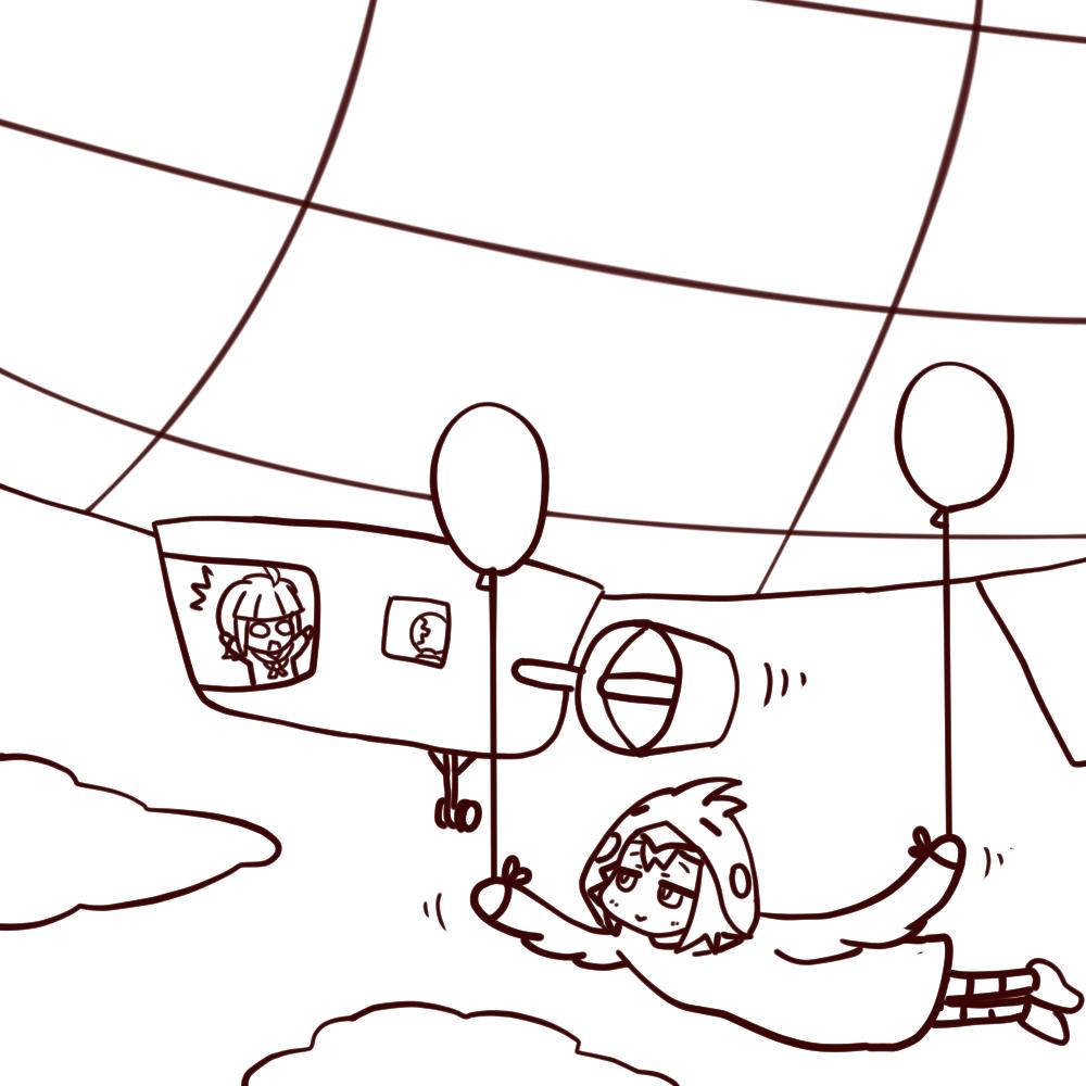 優里 / 飛行船 (線画途中)